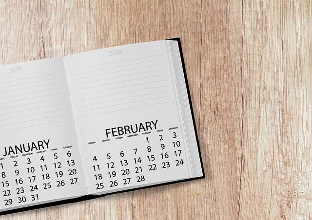 2月を開いた手帳